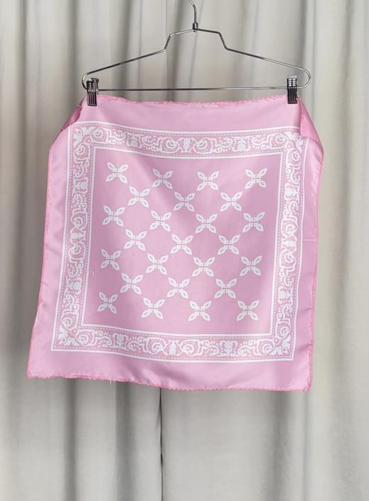 Vintage Pink Semi-Sheer Bandana Style Scarf