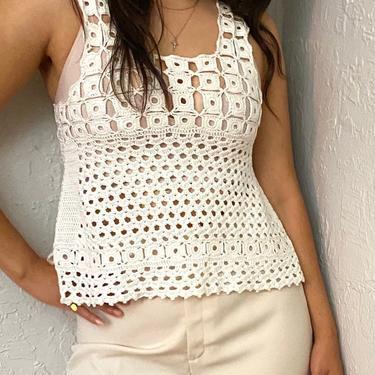 Vintage 70s Cream Ivory Crochet Knit Tank Top - Sleeveless Hippie Festival Summer Shirt - 1970s Off White by LittleSparkVintage