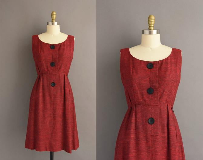 1950s vintage dress   Adorable Red Cotton Sleeveless Summer Day Dress   Small   50s dress by simplicityisbliss