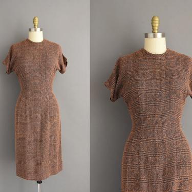 1950s vintage dress | Fall Winter Short Sleeve Pencil Skirt Day Dress | Medium | 50s dress by simplicityisbliss
