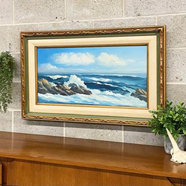 Vintage Stevens Painting 1970s Retro Size 39x24 Mid Century Modern + Ocean + Waves + Rocks + Acrylic + Stretched Canvas + Carved Wood Frame by RetrospectVintage215
