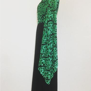 Late 1960s angel sleeve black and green velvet burnout vintage holiday dress by MamaTequilasVintage
