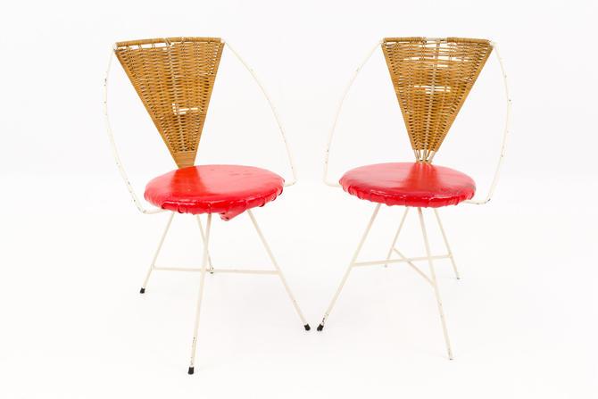 Arthur Umanoff Mid Century Modern Iron and Wicker Vanity Chairs - Matching Pair - mcm by ModernHill