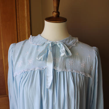 Late 1950's Leonora Blue Night Gown with Floral Embroidery by Ferngodvintage