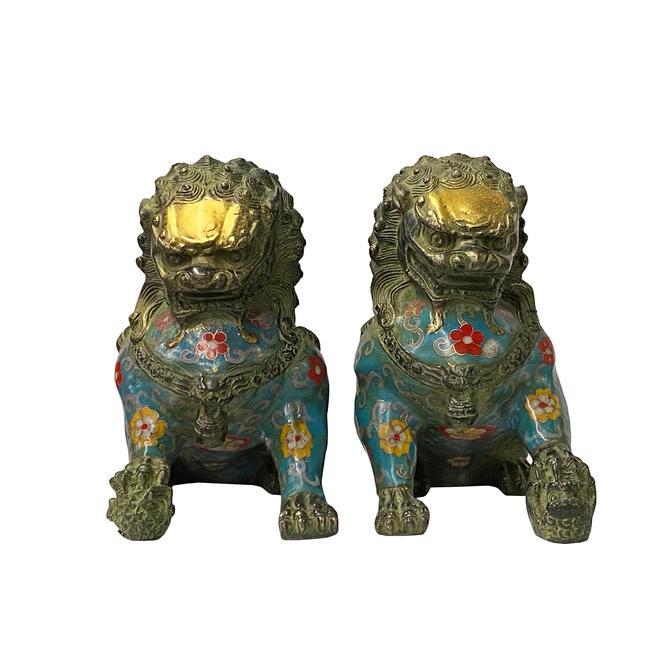 Chinese Pair Metal Blue Enamel Cloisonné Fengshui Foo Dog Figures ws1410E by GoldenLotusAntiques