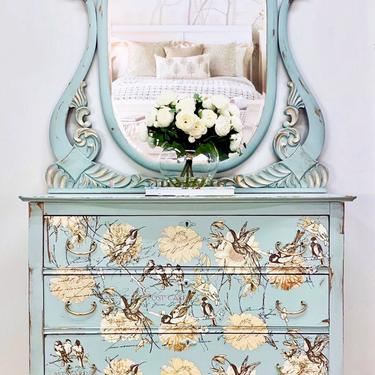 Stunning Antique Dresser Hand Painted by LaVidaBellaDesign