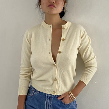 50s Ballantyne cashmere sweater / vintage ivory creamy white cashmere gold button front snug cardigan sweater Scotland | S by RecapVintageStudio
