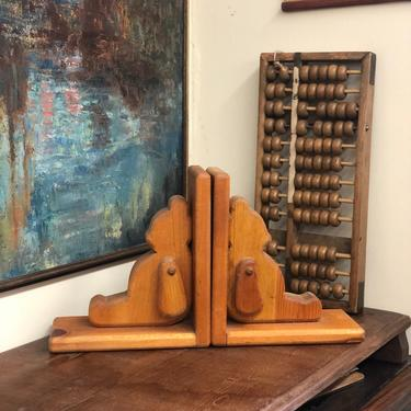 Vintage Wood Bears Bookends Home Decor mid century modern retro style Bear Animal Handmade by BigWhaleConsignment