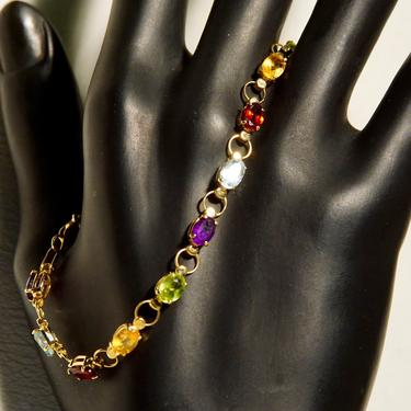 "Vintage 14K Gold Multi-Stone Link Bracelet, Amethyst, Peridot, Citrine, Garnet, Blue Topaz, Yellow Gold Links, Made In Turkey, 7 1/2"" L by shopGoodsVintage"