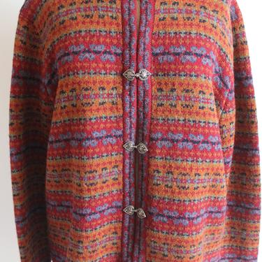 Cheerful Multi Color Wool Cardigan Sweater fits S - L by BeggarsBanquet