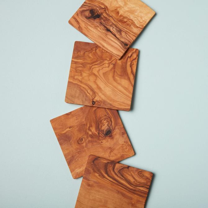 Olive Wood Coasters, Set of 4