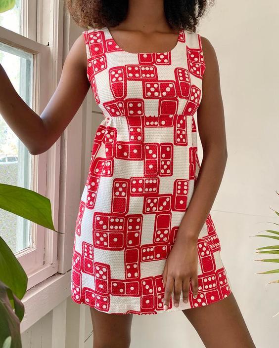 60s Domino Print Dress
