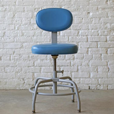 shipping to Raleigh -  amazingly adjustable desk- or bar-height seating: baby blue vintage industrial drafting stools by Cramer by jeglova