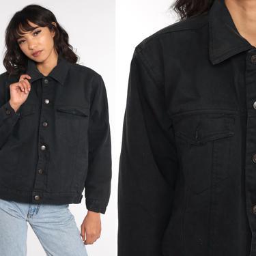 Black Denim Sherpa Jacket Vintage Faux SHEARLING Jean Jacket Fleece Lined Oversized Grunge Biker Button Up 90s Small Medium by ShopExile