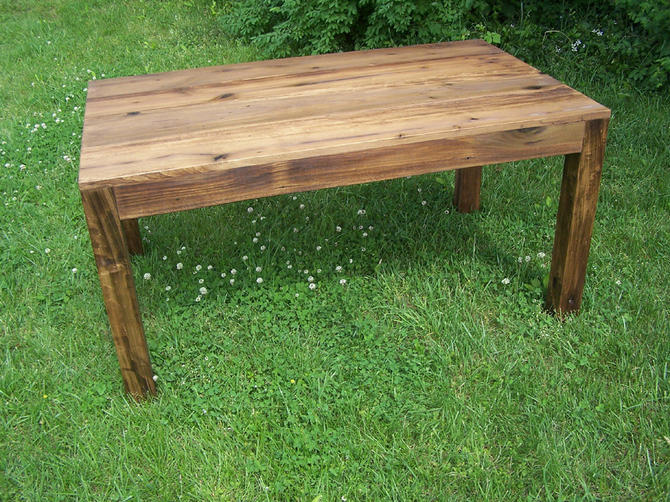 Reclaimed Antique Wood Parsons Table by BarnWoodFurniture