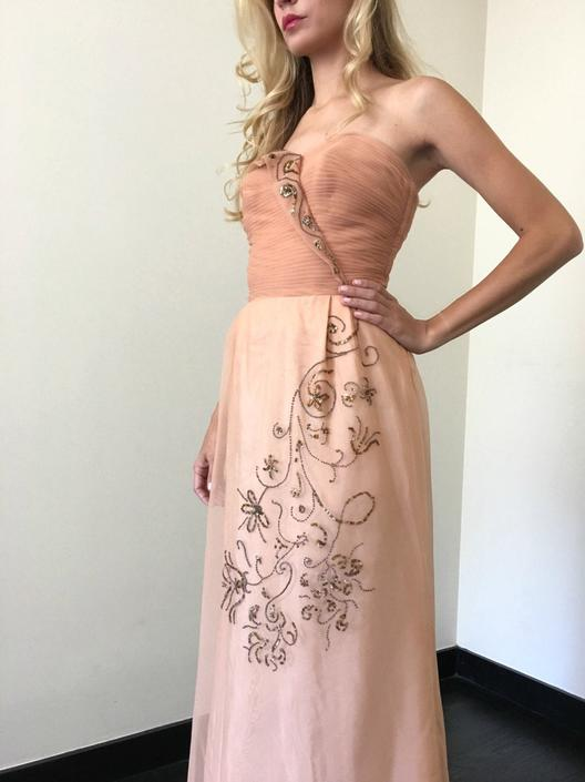 Vintage 50s Peach Formal Prom Dress by SpeakVintageDC