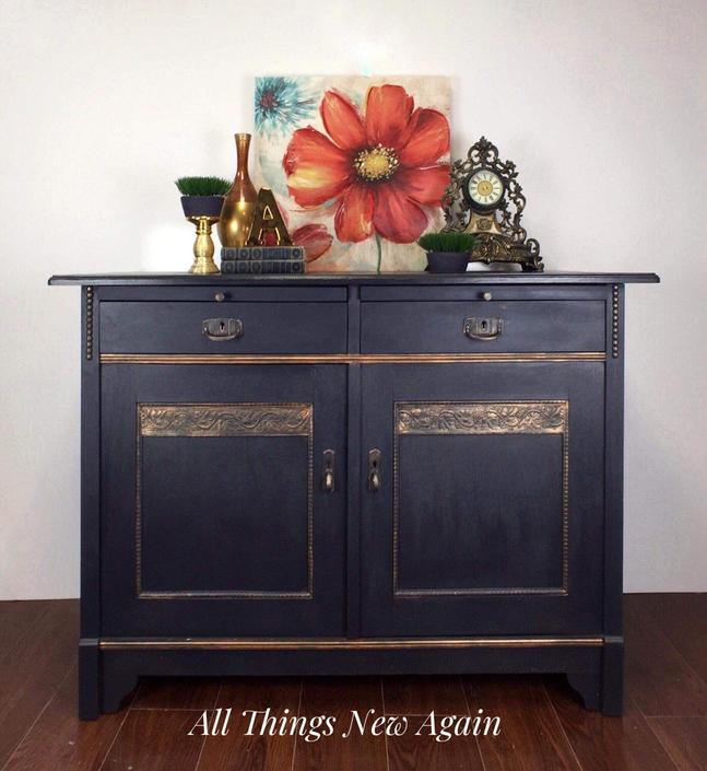 Navy Blue Buffet with Copper Details | Blue Buffet | Navy Blue Sideboard | Navy Blue Credenza | Vintage Buffet | Dining Room Furniture by AllThingsNewAgainVA