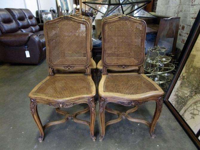 SET OF FOUR ANTIQUE FRENCH PROVINCIAL CHAIRS IN WALNUT