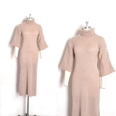 Vintage 1970 Dress / 70s Ribbed Turtleneck Sweater Dress / Taupe ( XS S M ) by lapoubellevintage