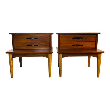 1960s Walnut Wood Step-Back Nightstands by Dixie, Pair by 2bModern