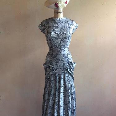 Vintage 80s Silver Metallic Floral Print Dress w/ Pockets by LucileVintage