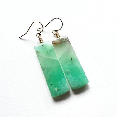 Green Chrysoprase Statement Earrings, Gold