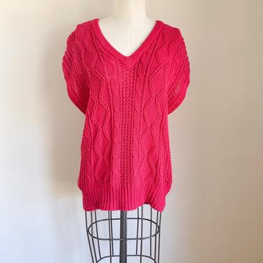 Vintage 1980s Hot Pink Sweater Vest / L-XL by MsTips
