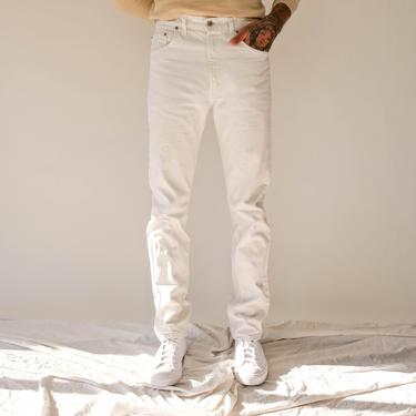 Vintage 80s LEVIS 505 Distressed White Denim Zipper Fly Jeans | Made in USA | Size 34x35 | 1980s LEVIS White High Waisted Denim Pants by TheVault1969
