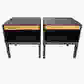 Edward Wormley Pair of Bedside Tables in Mahogany 1940s (Signed) - ON HOLD