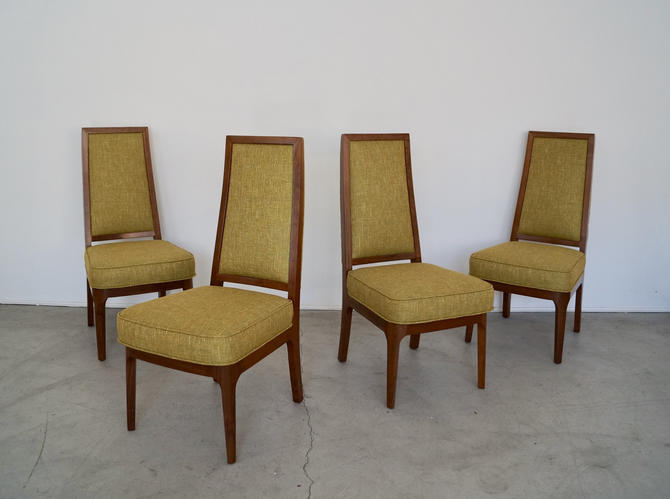 Set of Four Stunning Mid-century Modern Dining Chairs by Cal Mode - Refinished & Reupholstered in Knoll Fabric! by CyclicFurniture