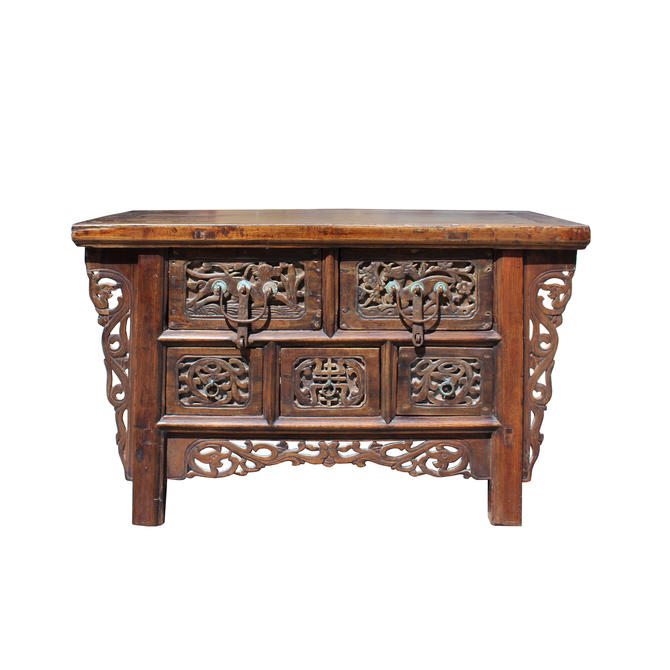 Chinese Vintage Rustic Carving Low Kang Table Display Stand cs5762E by GoldenLotusAntiques