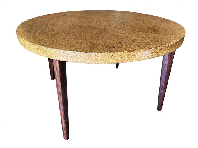 Round Mid-Century Cork Top Dining Table w/ Knife Legs by Paul Frankl by HarveysonBeverly