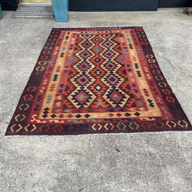Turkish Kilim area rug, 6.5 x 9.6