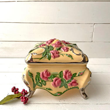 Vintage Rose And Yellow Jewelry Box, Trinket Tray, Catch All, Vanity Display | Hand Crafted Rose Dish, Ceramic, Perfect Gift, Little Girl by CuriouslyCuratedShop