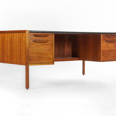 Large Teak Executive Desk by Jens Risom in Walnut with Vinyl Top by ABTModern