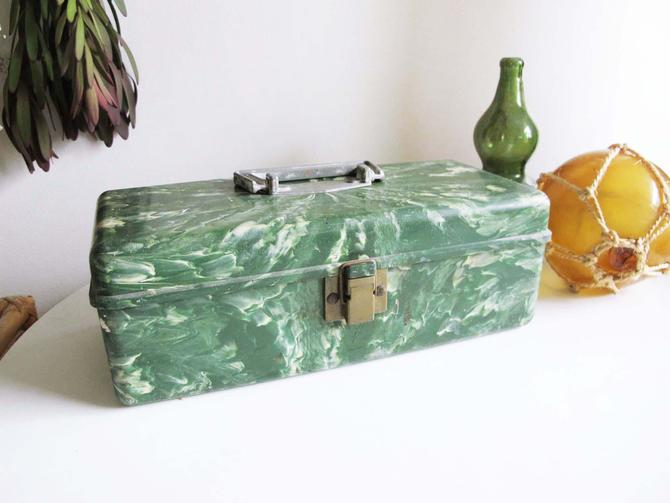 Vintage 60s Green Marble Acrylic Tackle Box - Fisherman Small Tackle Box - Jewelry Makeup Organizer Box - Plano Moulding Co - by MILKTEETHS