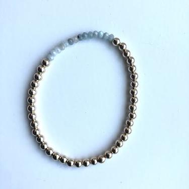 Gold Beaded Stretch Crystal Bracelet