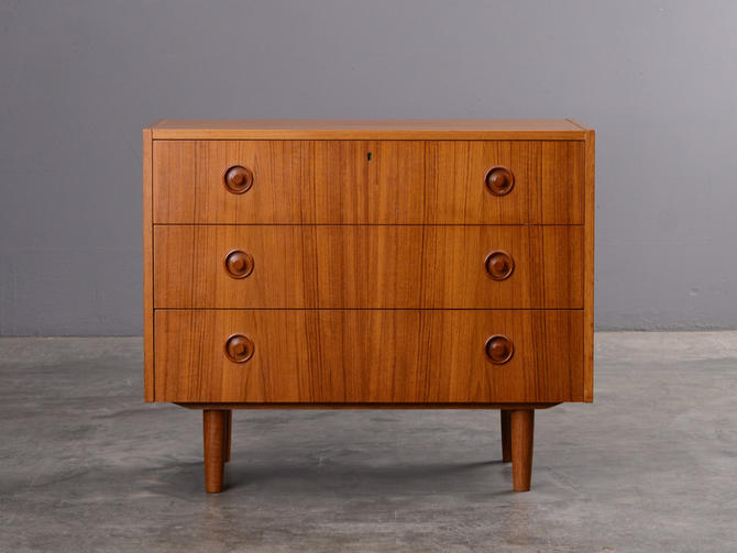 Small Swedish Chest of Drawers or Large Nightstand Mid-Century Teak by MadsenModern
