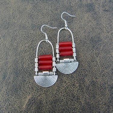 Red sea glass earrings, chandelier earrings, statement earrings, bold earrings, etched metal earrings, tribal ethnic earrings, chic by Afrocasian