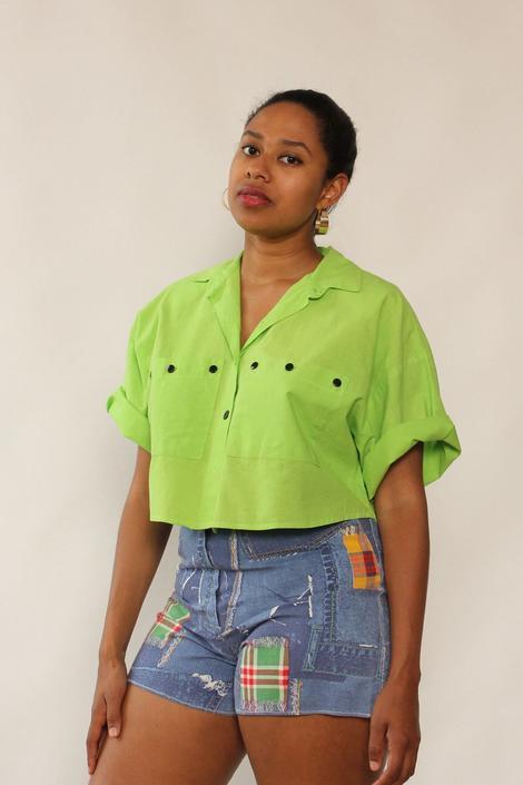 Cristina Highlighter Green Crop Buttondown M/L