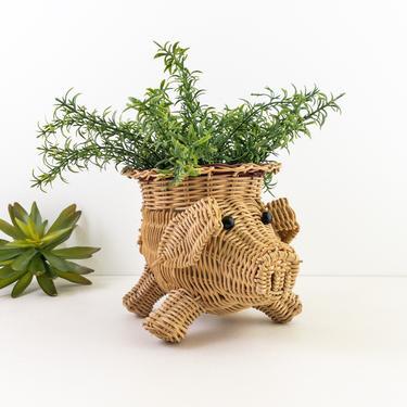 Wicker Pig Plant Holder, Woven Rattan Animal Basket, Vintage Wicker Planter, Farm Animal Decor by PebbleCreekGoods