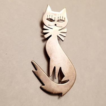 Vintage Mexican Sterling mid century mcm Modernist Cat Brooch and or pendant for necklace by LazyDogAntiqueStore