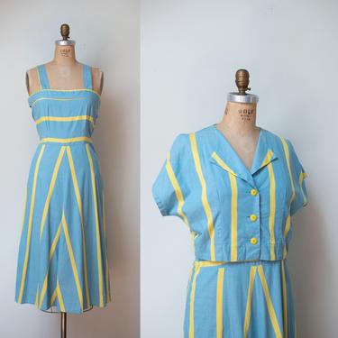 1940s Chevron Sundress / 40s Striped Cotton Dress Bolero by FemaleHysteria
