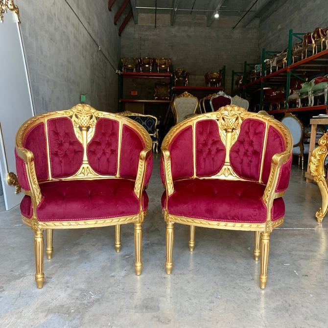 Vintage Chair French Chair Vintage Furniture Vintage Settee Interior Designer *3 Piece Set Avail* Baroque Furniture Rococo Corbeille Chairs by SittinPrettyByMyleen