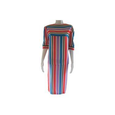 Woodward & Lothrop Silk Striped Casual Midi Dress by MetronomeThreads
