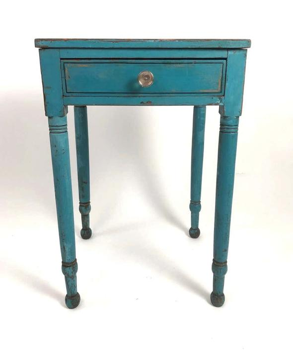 19th Century Blue Painted Side Table, New England, circa 1830