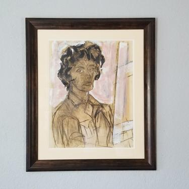 Vintage Abstract Female Portrait Painting. by MIAMIVINTAGEDECOR