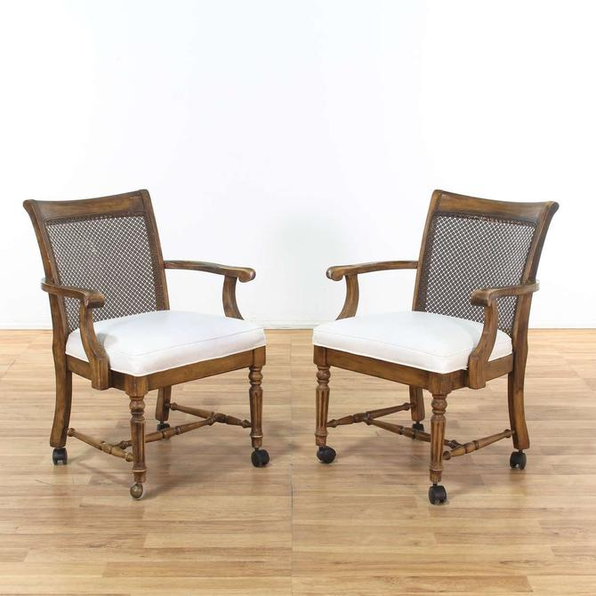 Pair of Dining Chairs W/ White Leather Seat On Casters