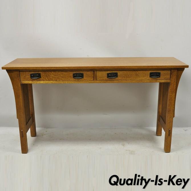 "L&JG Stickley Arts & Crafts Mission Oak 54"" Long Sofa Console Hall Table"