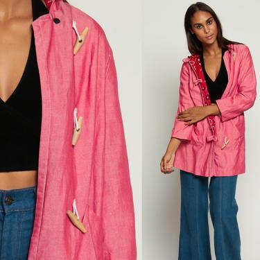 Hooded Jacket Duffle Coat 70s Jacket Toggle Hood BANDANA LINING Pink Vintage 1970s Hoodie Long Womens Bohemian Retro Medium by ShopExile